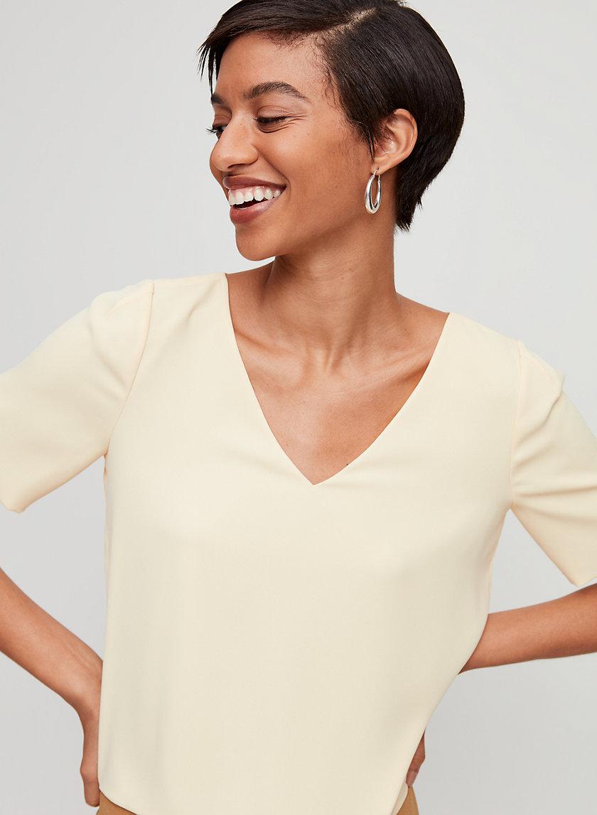 RANDY BLOUSE - Cropped, short-sleeve blouse