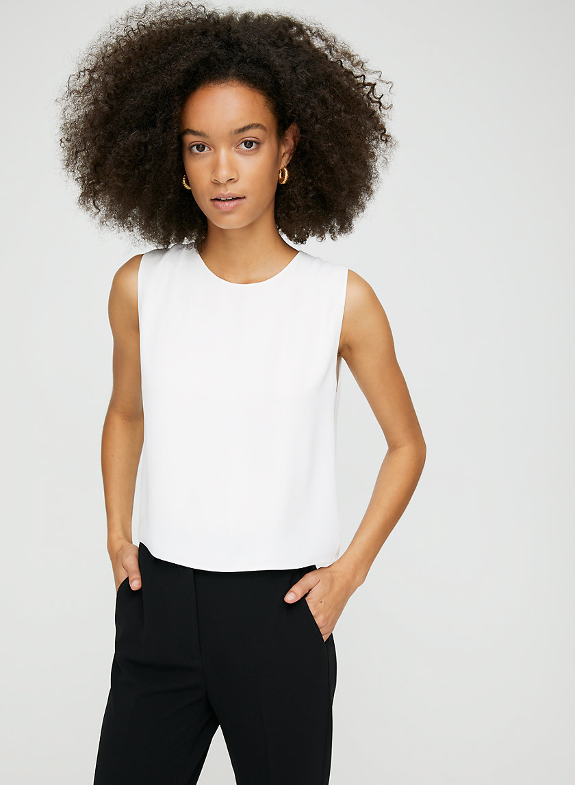 DAY BLOUSE - Cropped, sleeveless shell blouse
