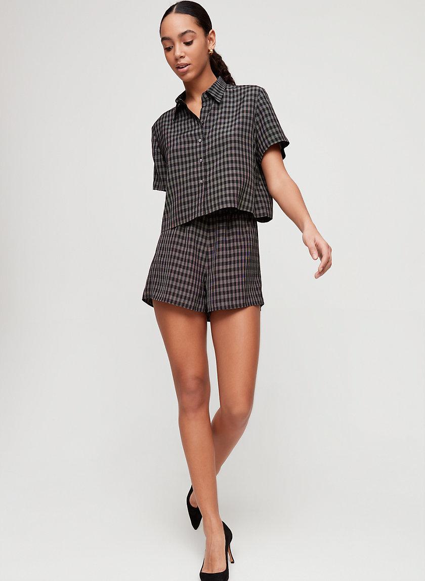 WAYNE SHIRT - Cropped, checkered blouse