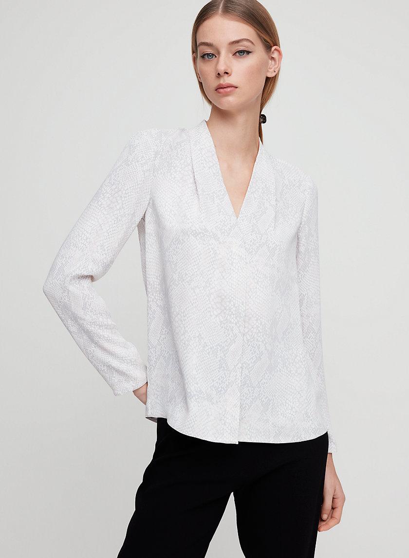 AKIRA BLOUSE - Matte satin, snake print blouse