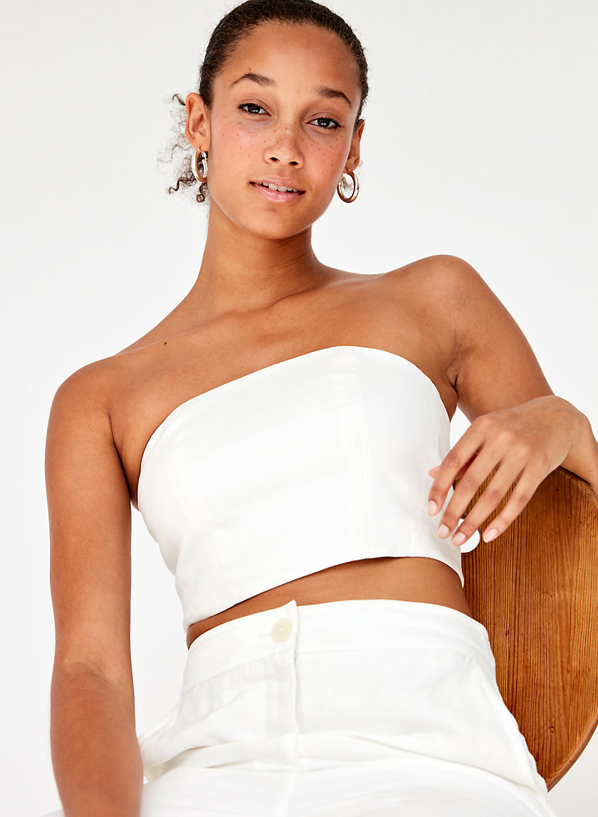ALBIE TUBE TOP - Cropped linen-blend strapless top