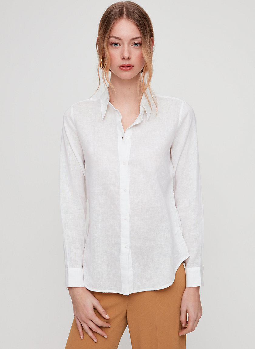 LANSTON BLOUSE - Linen-blend, button-up blouse