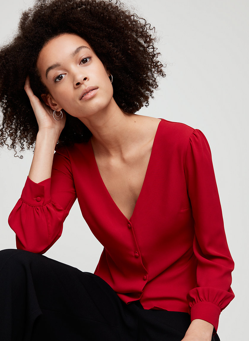 BENNIE BLOUSE - Long-sleeve, V-neck blouse