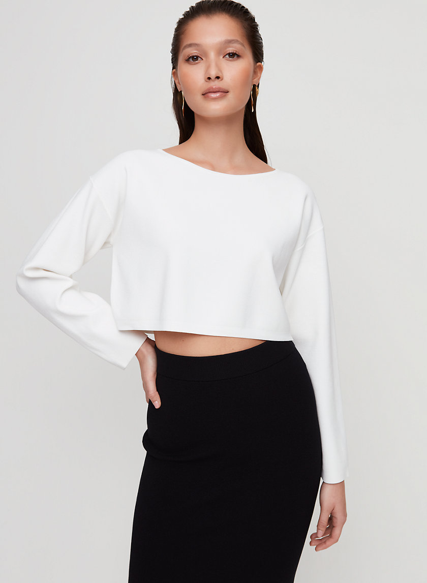 HESSY SWEATER - Cropped, wide scoop neck sweater