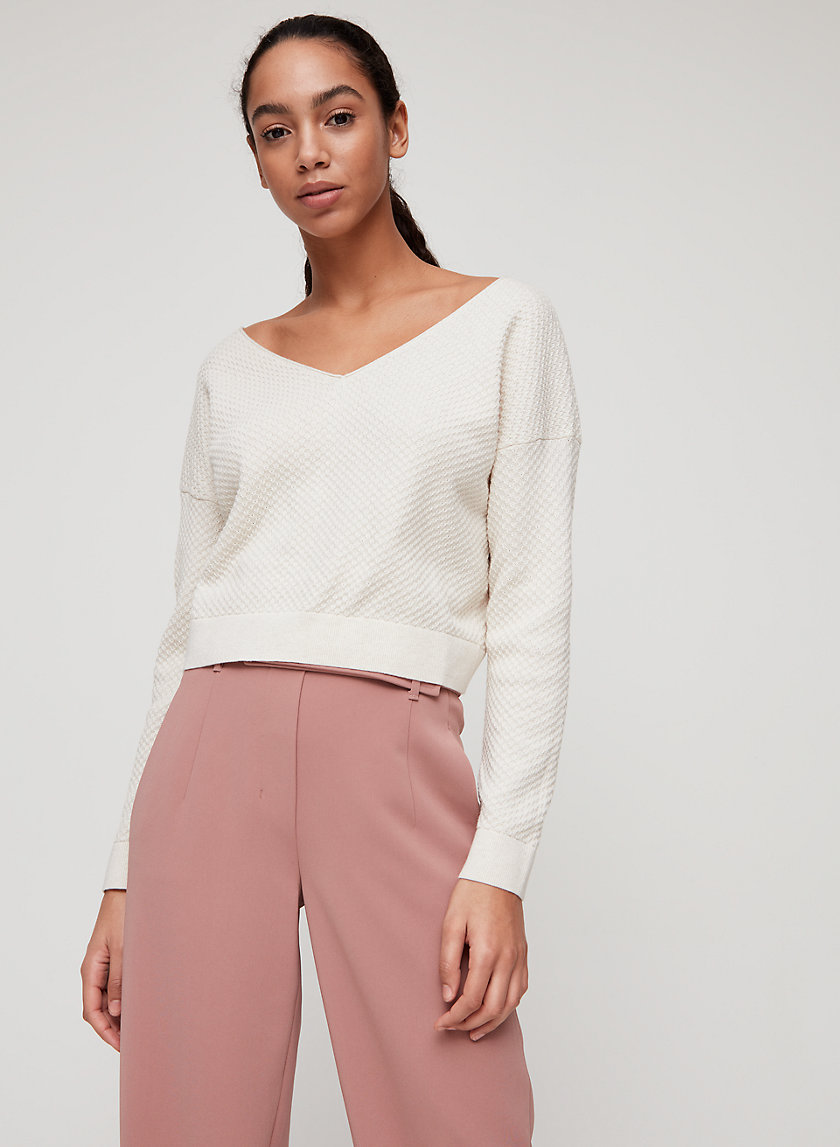 LITA LONGSLEEVE - Cropped, V-neck sweater