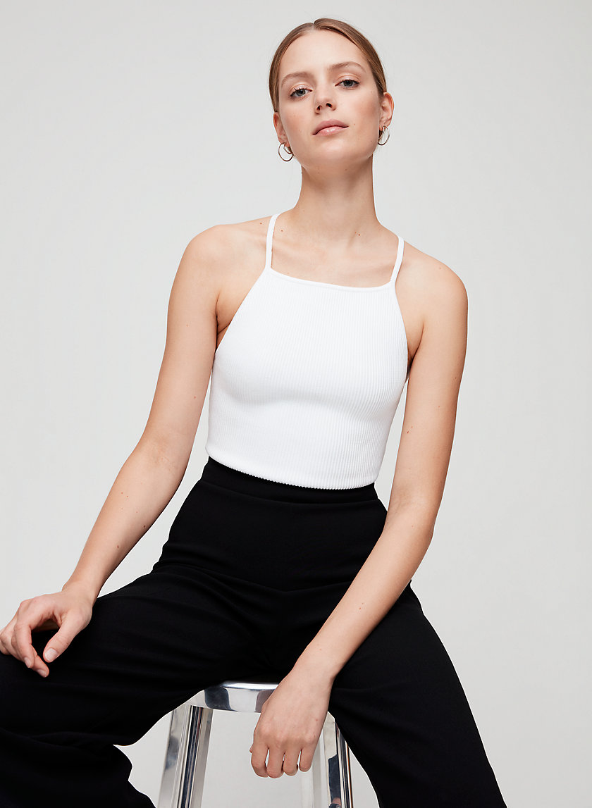 MAGNUS TOP - Cropped, ribbed halter top