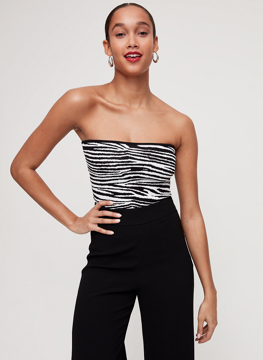 ESSAMBA TUBE TOP - Cropped, zebra-print tube top