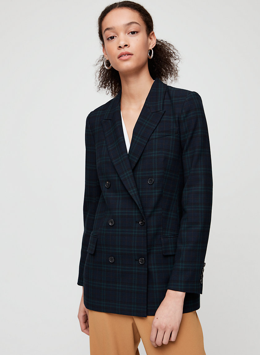SAMUEL CHECK BLAZER - Plaid, double-breasted blazer