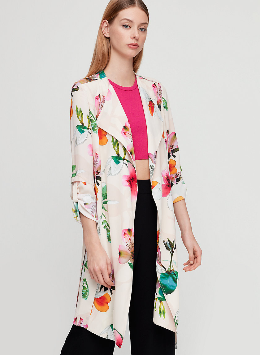 QUINCEY JACKET - Floral, modern trench coat