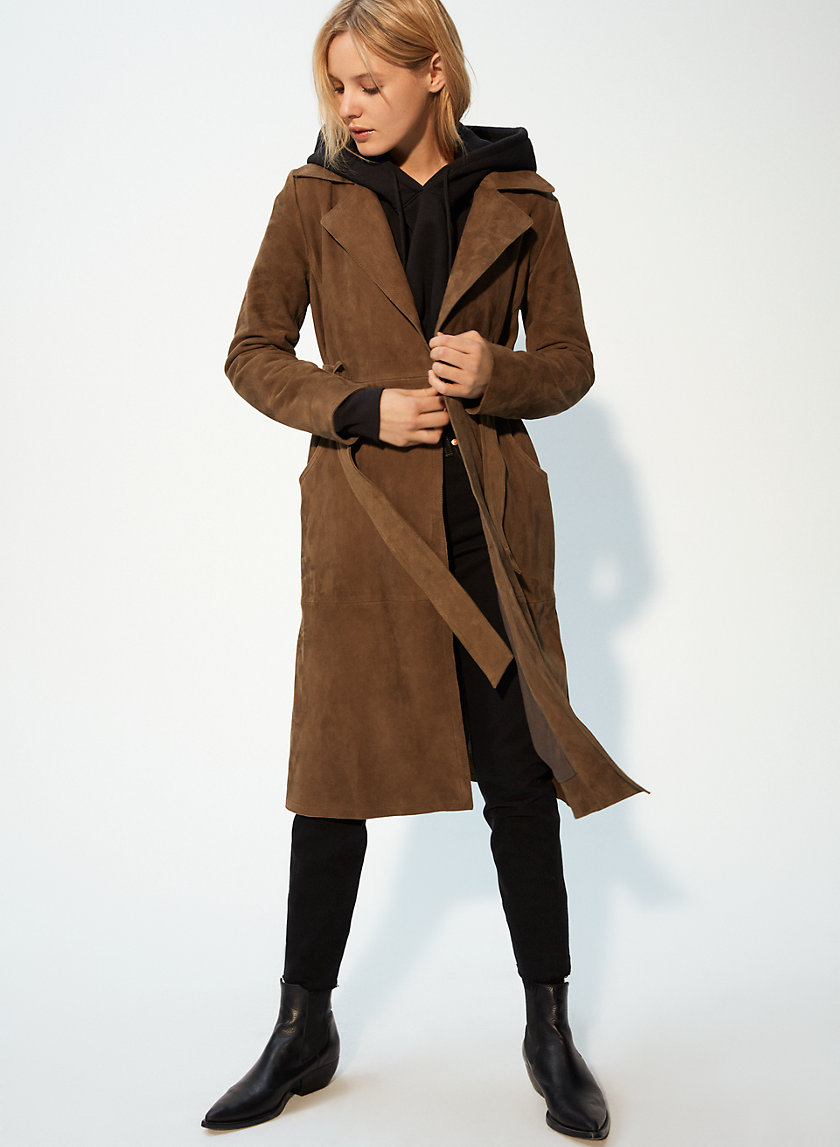 BONHAM TRENCH - Suede trench coat