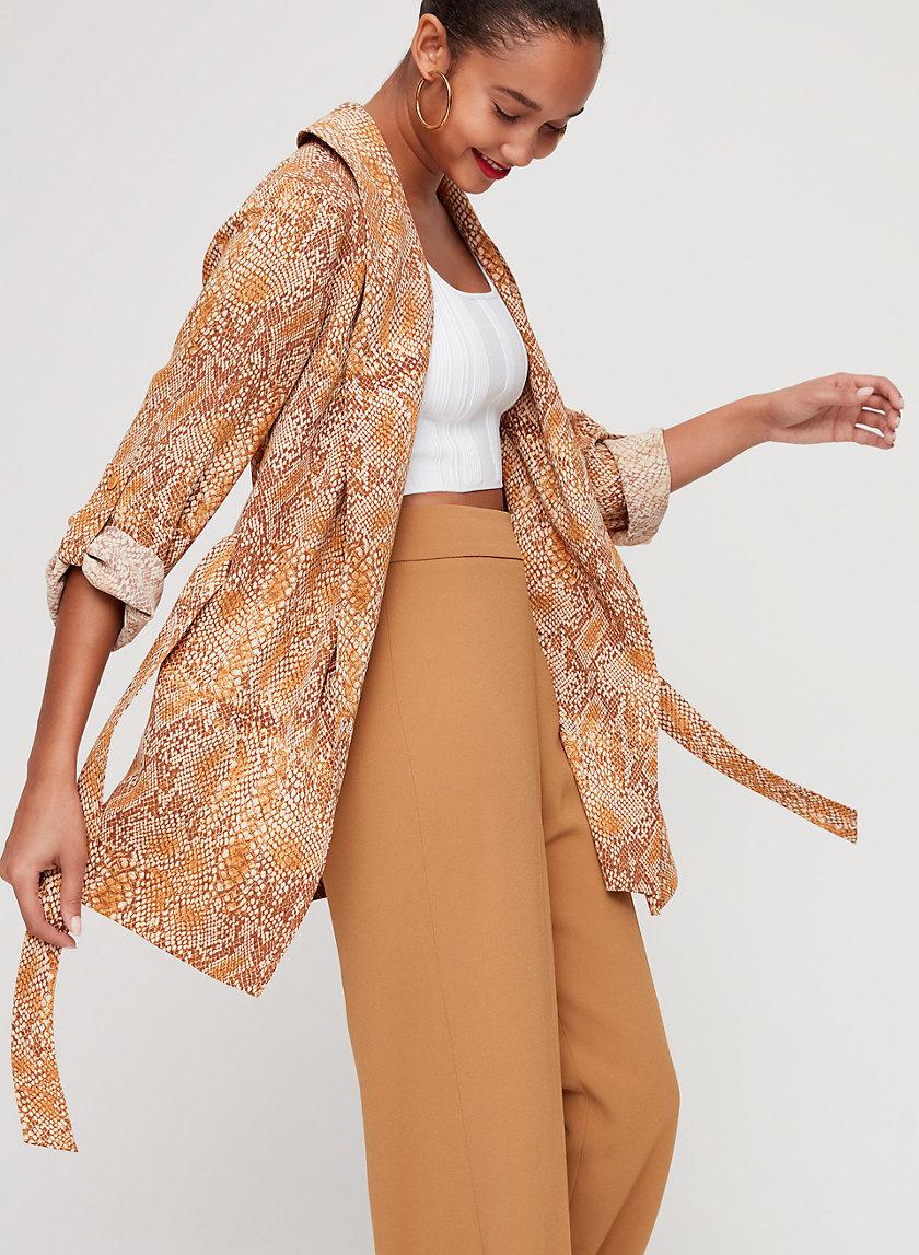 KAHLO ROBE MID - Mid-length, snake print robe jacket