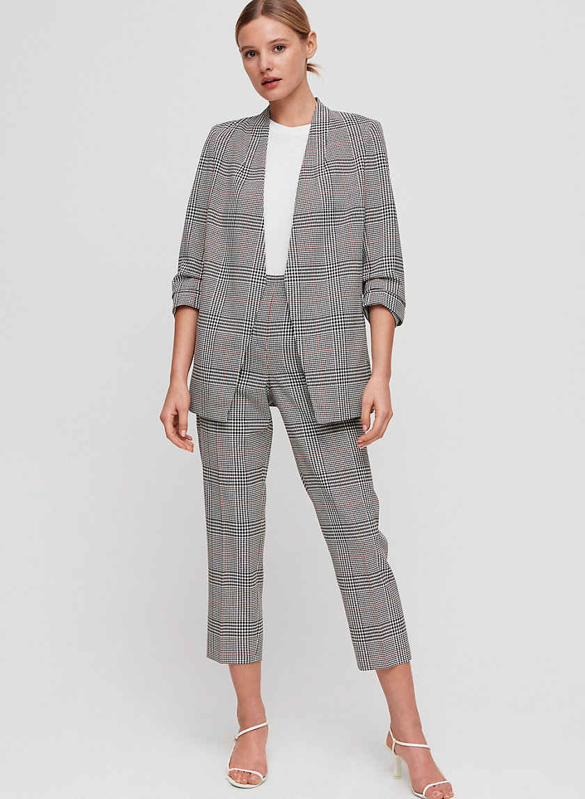 MACAULEY BLAZER - 3/4 rolled sleeve, plaid blazer