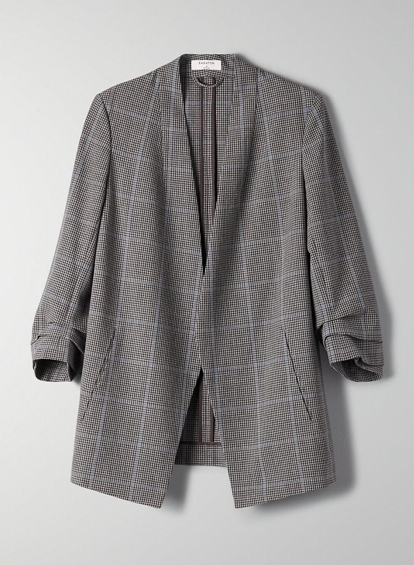 MACAULEY BLAZER - 3/4 rolled sleeve, plaid blazer