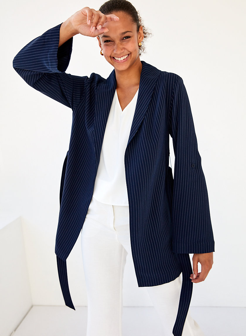 KAHLO ROBE MID - Pinstripe, belted robe jacket