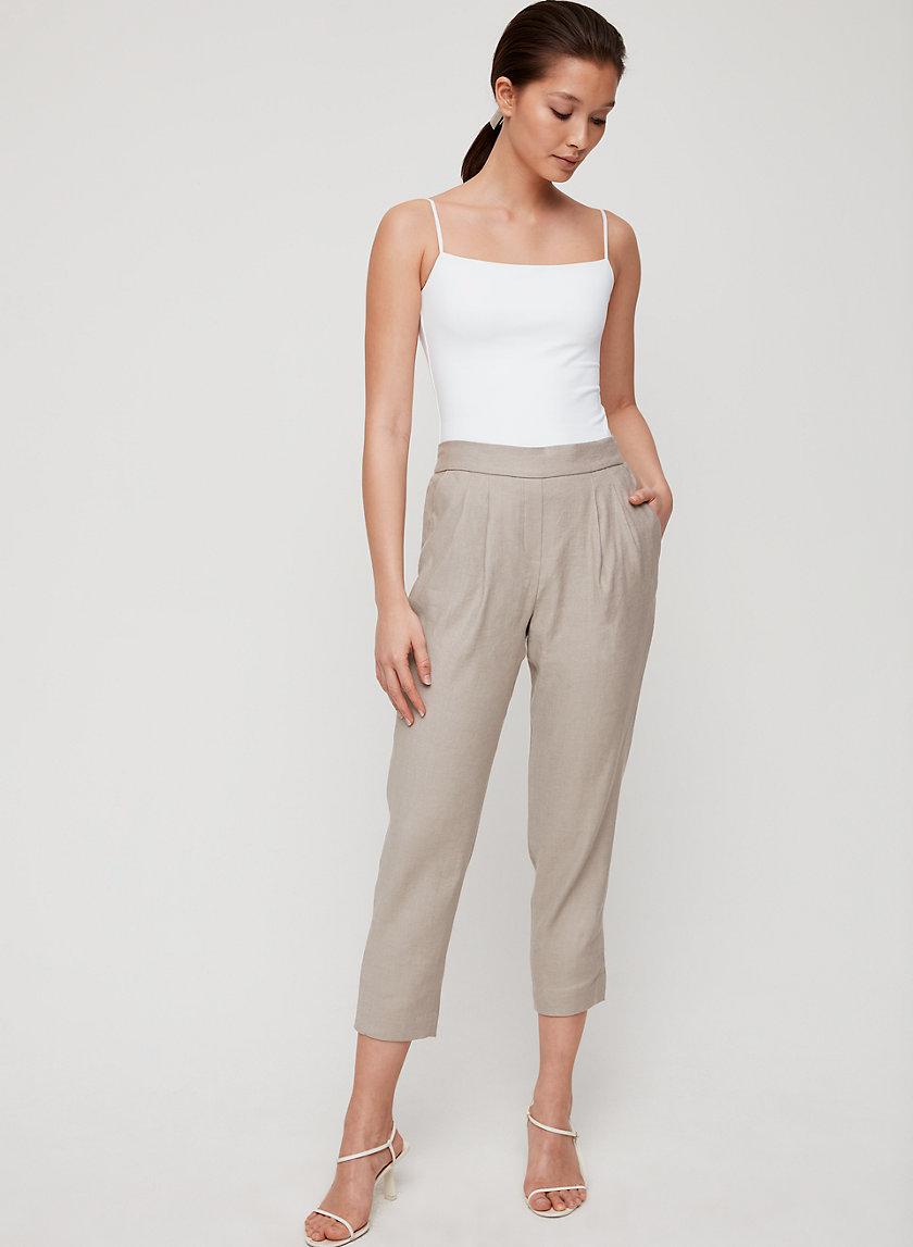 COHEN PANT LINEN - Cropped, pleated linen pant