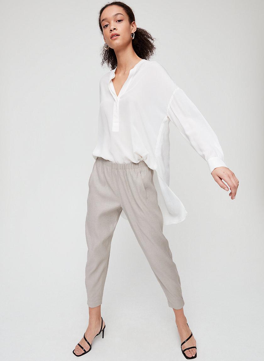 DEXTER LINEN PANT - Cropped linen dress pants