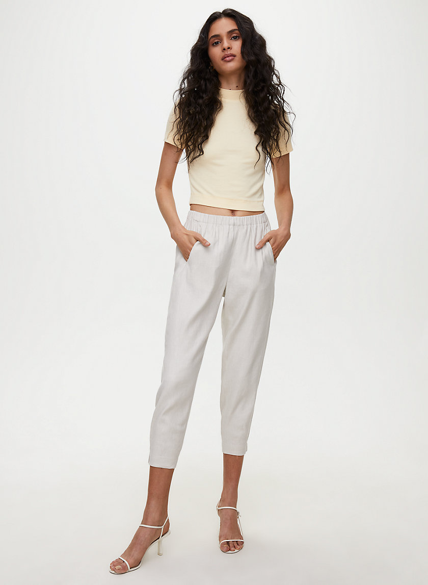DEXTER LINEN PANT - Cropped linen dress pants