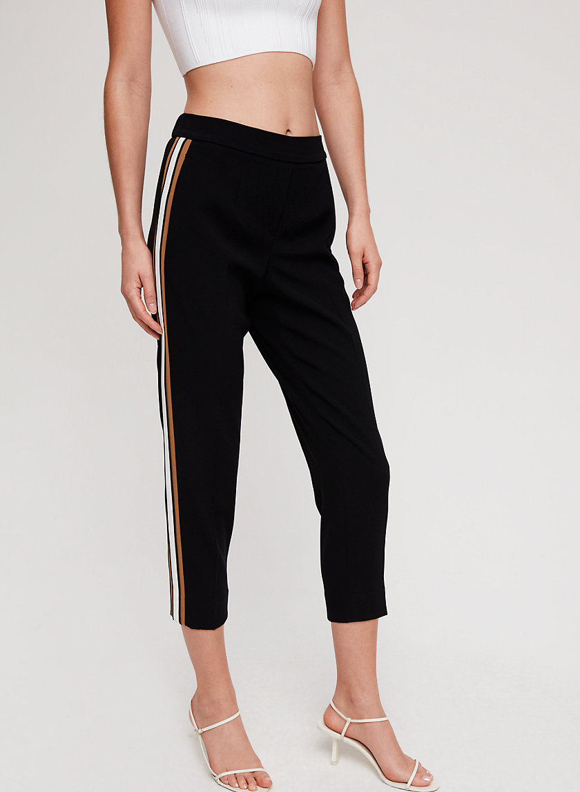 CONAN PANT CREPE - Cropped dress pant with side stripe