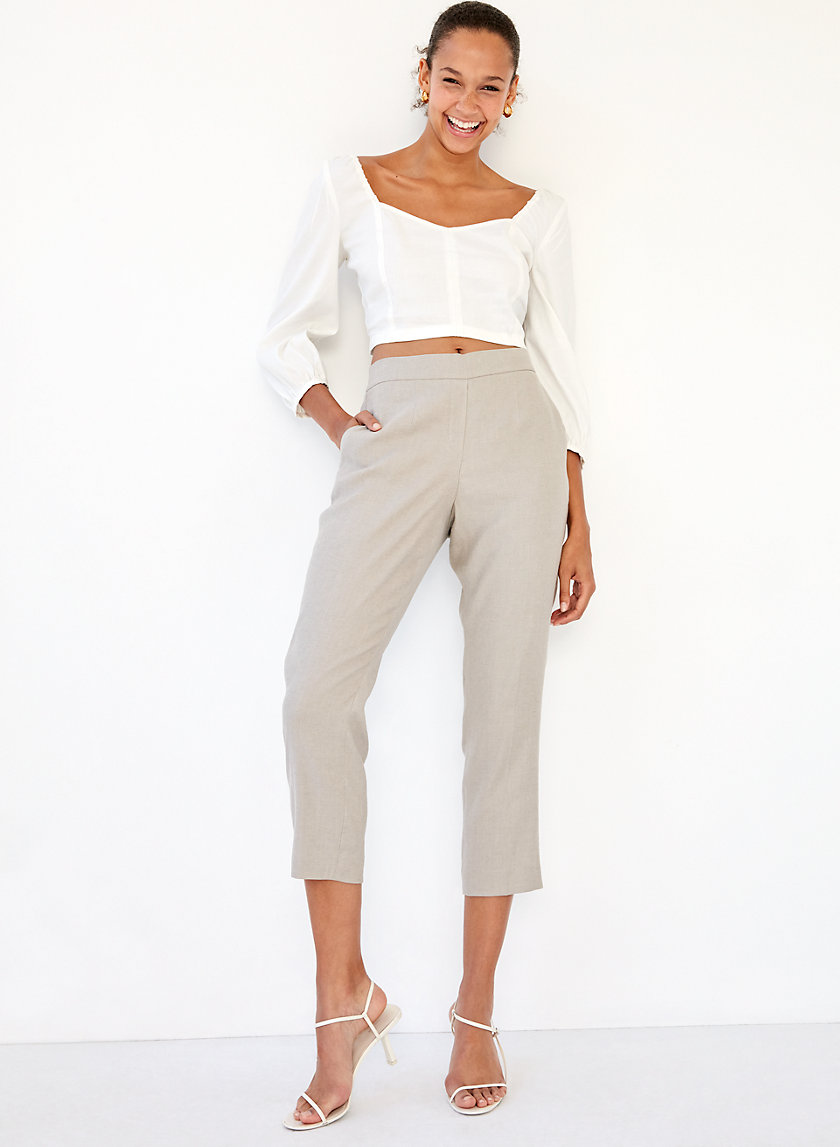 CONAN LINEN PANT - Cropped, linen-blend dress pant