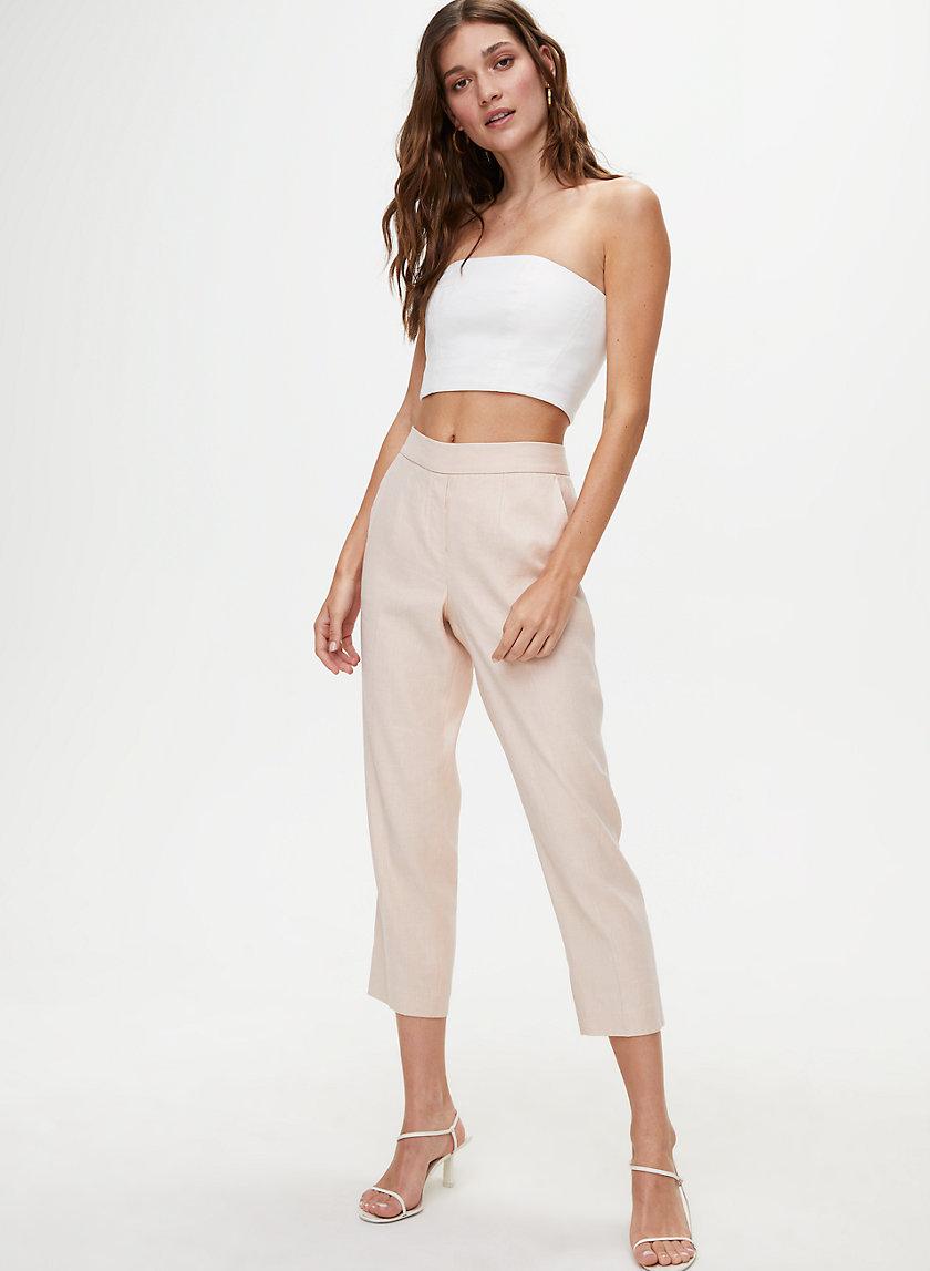 CONAN LINEN PANT - Cropped, linen-blend dress pant