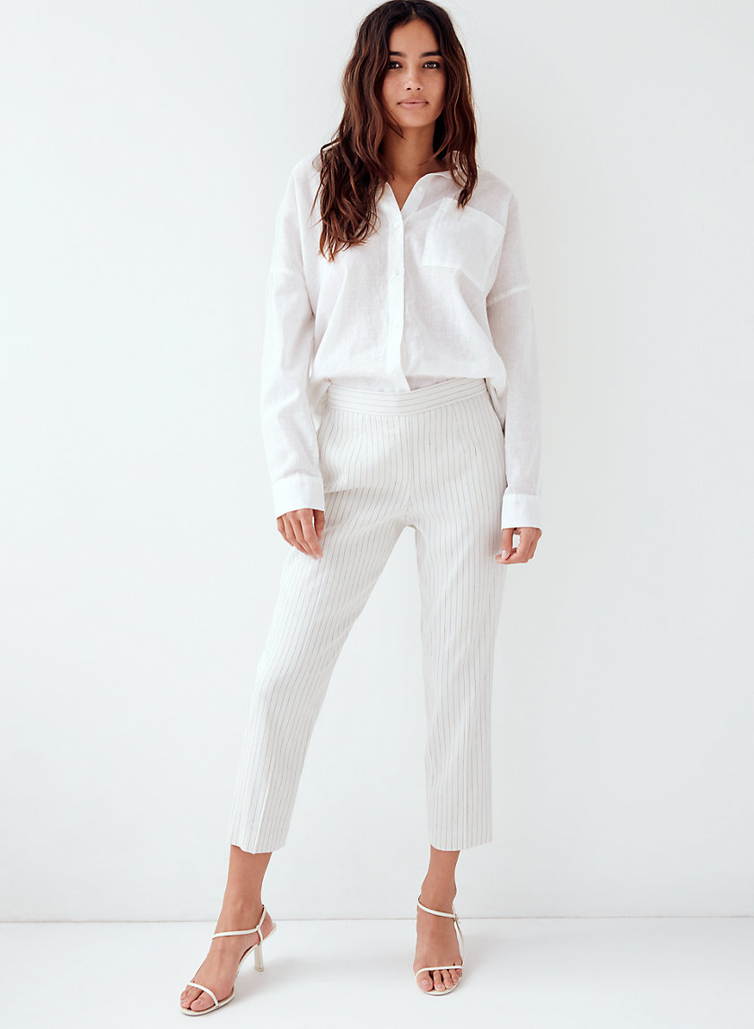 CONAN LINEN PANT - Cropped, striped dress pant