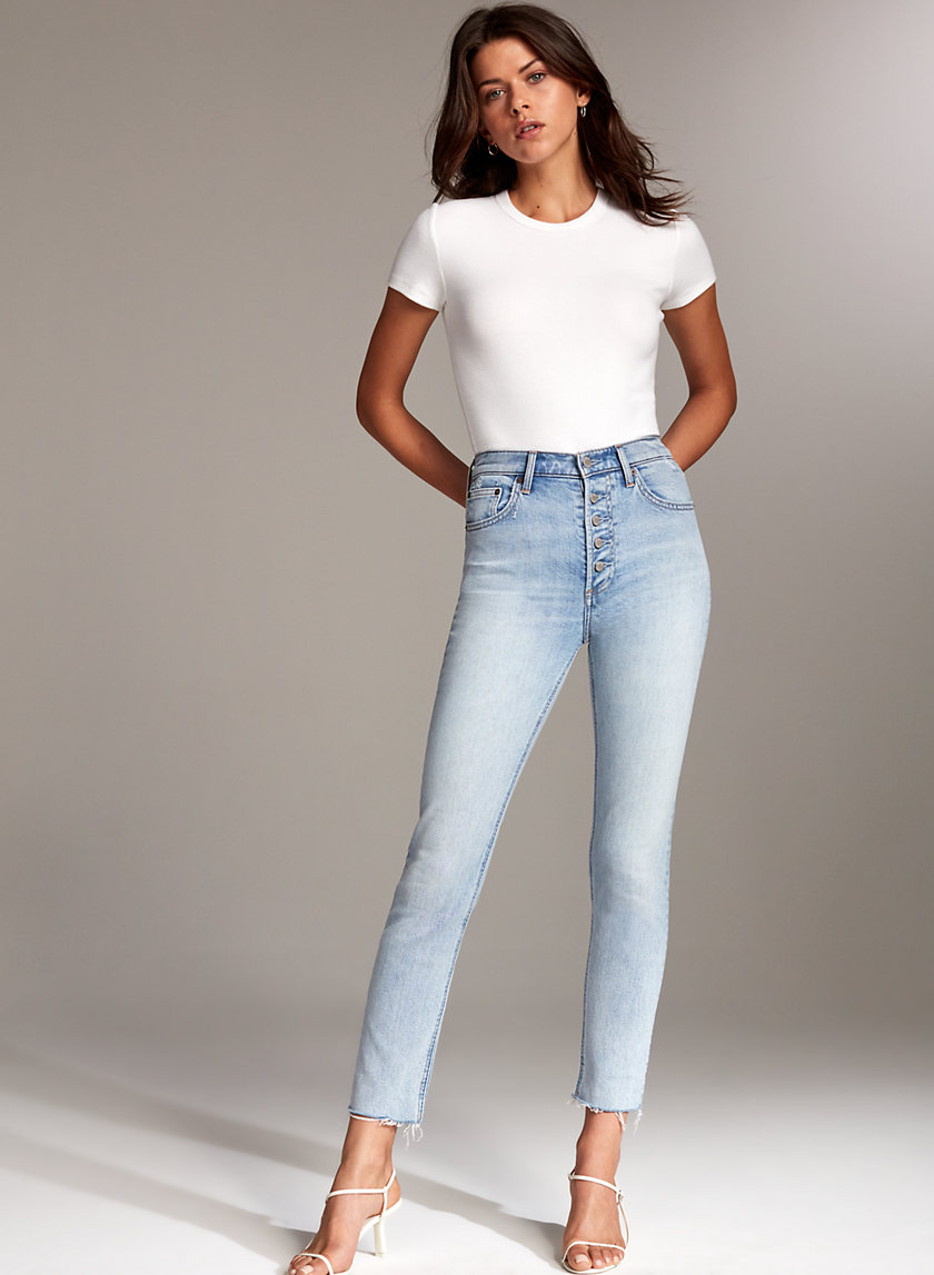 The Yoko Button   High Waisted Skinny Jean by Denim Forum