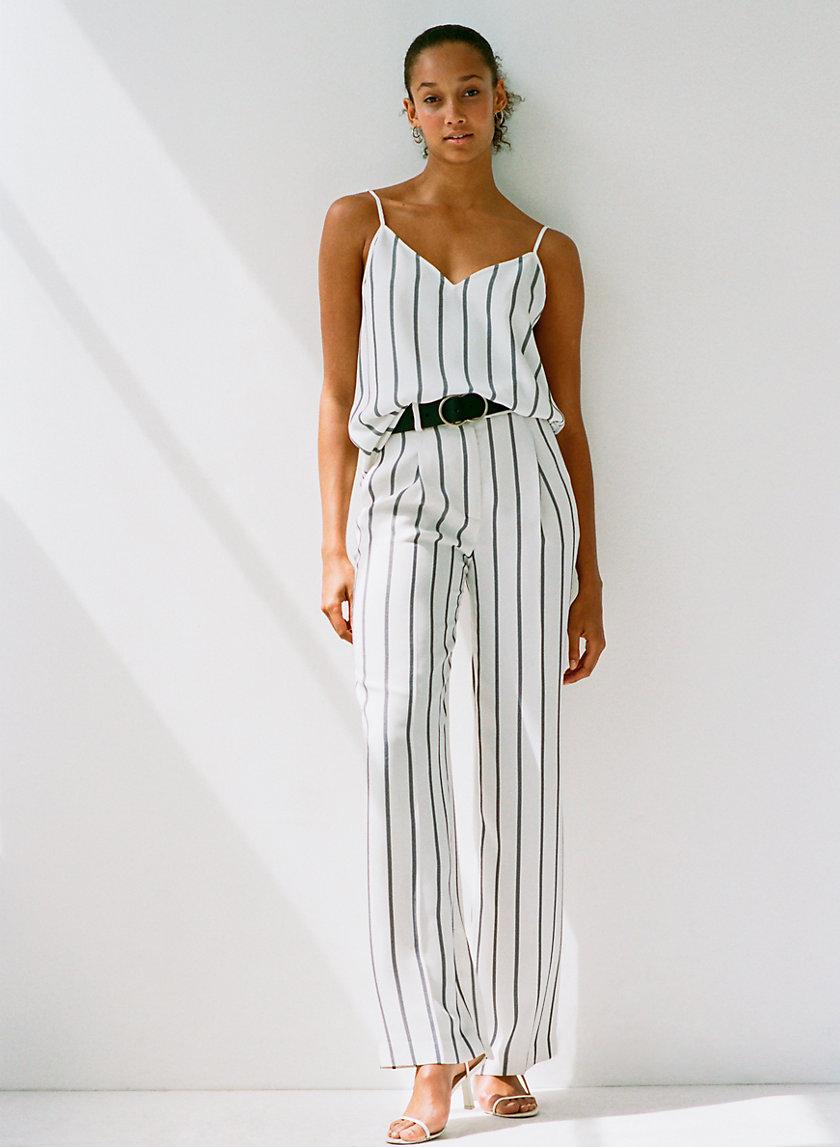 SADIKI PANT - Striped, wide-leg dress pant