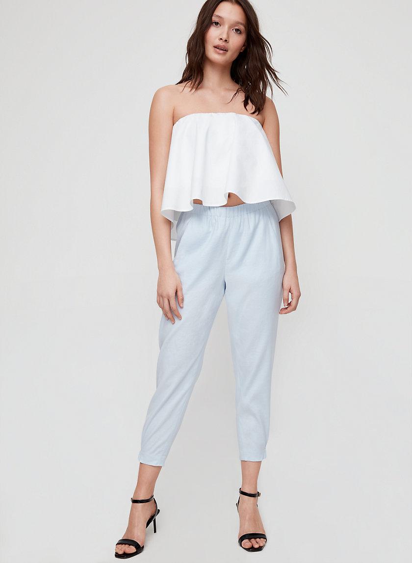 DEXTER LINEN PANT - Cropped, linen-blend pant