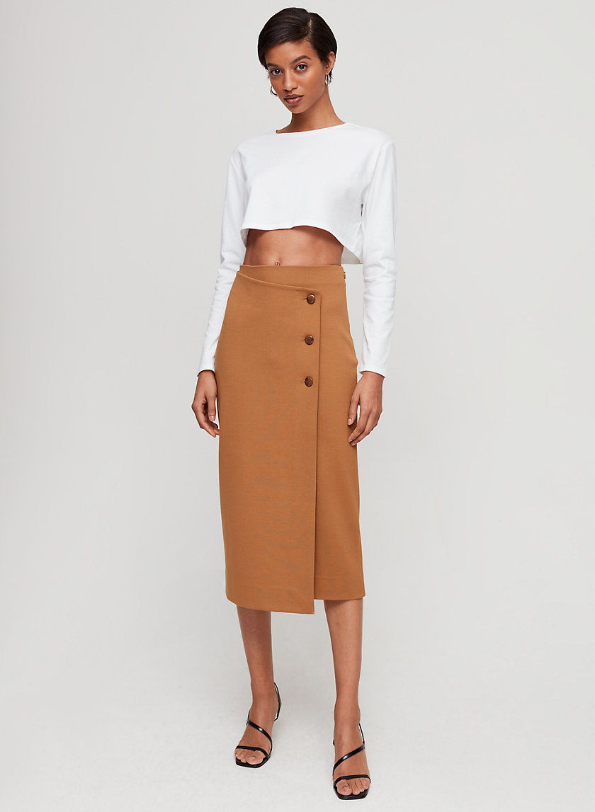BILLY SKIRT - Buttoned, wrap midi skirt