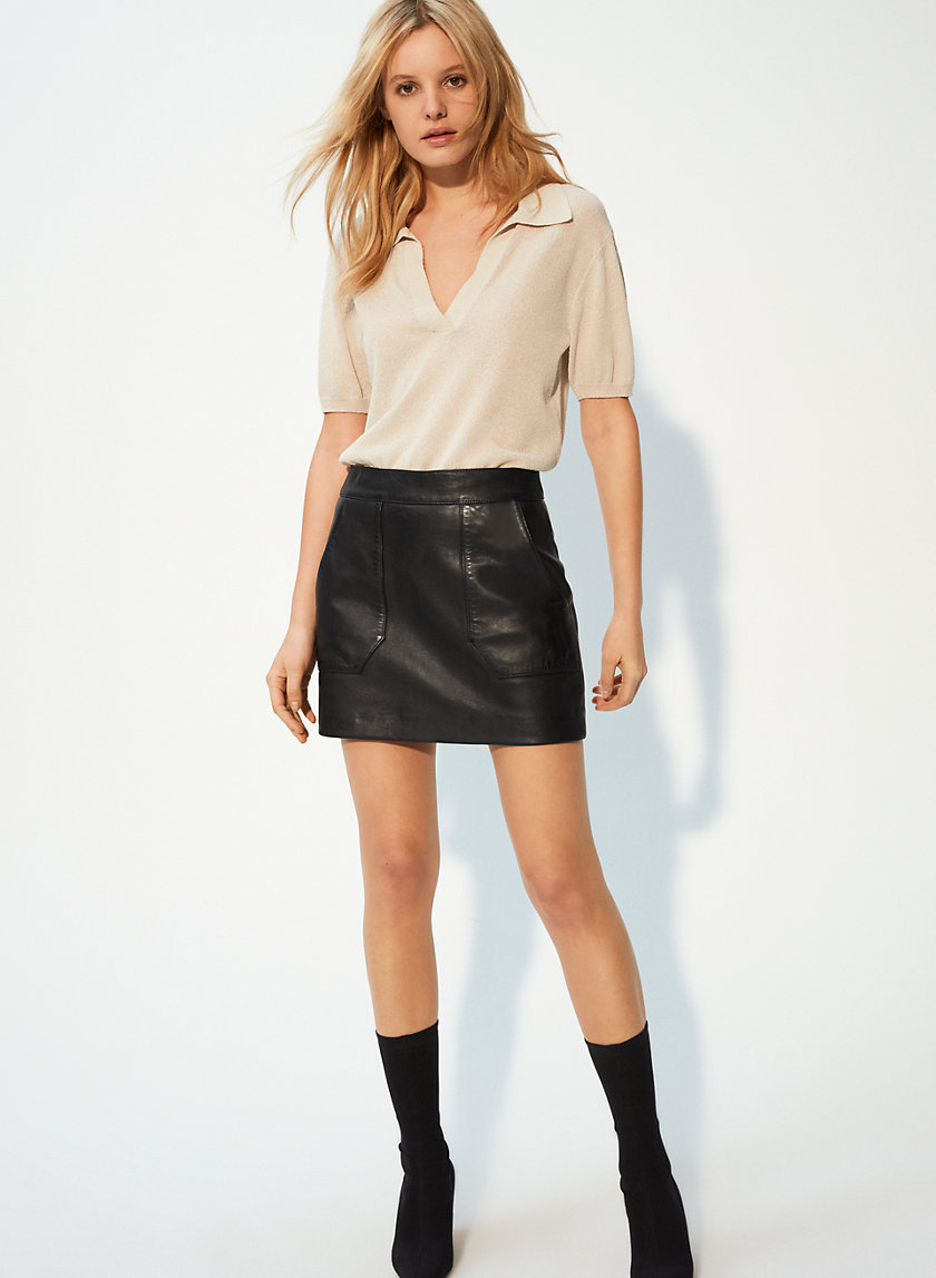 STEVIE LEATHER MINI - Leather A-Line Mini Skirt