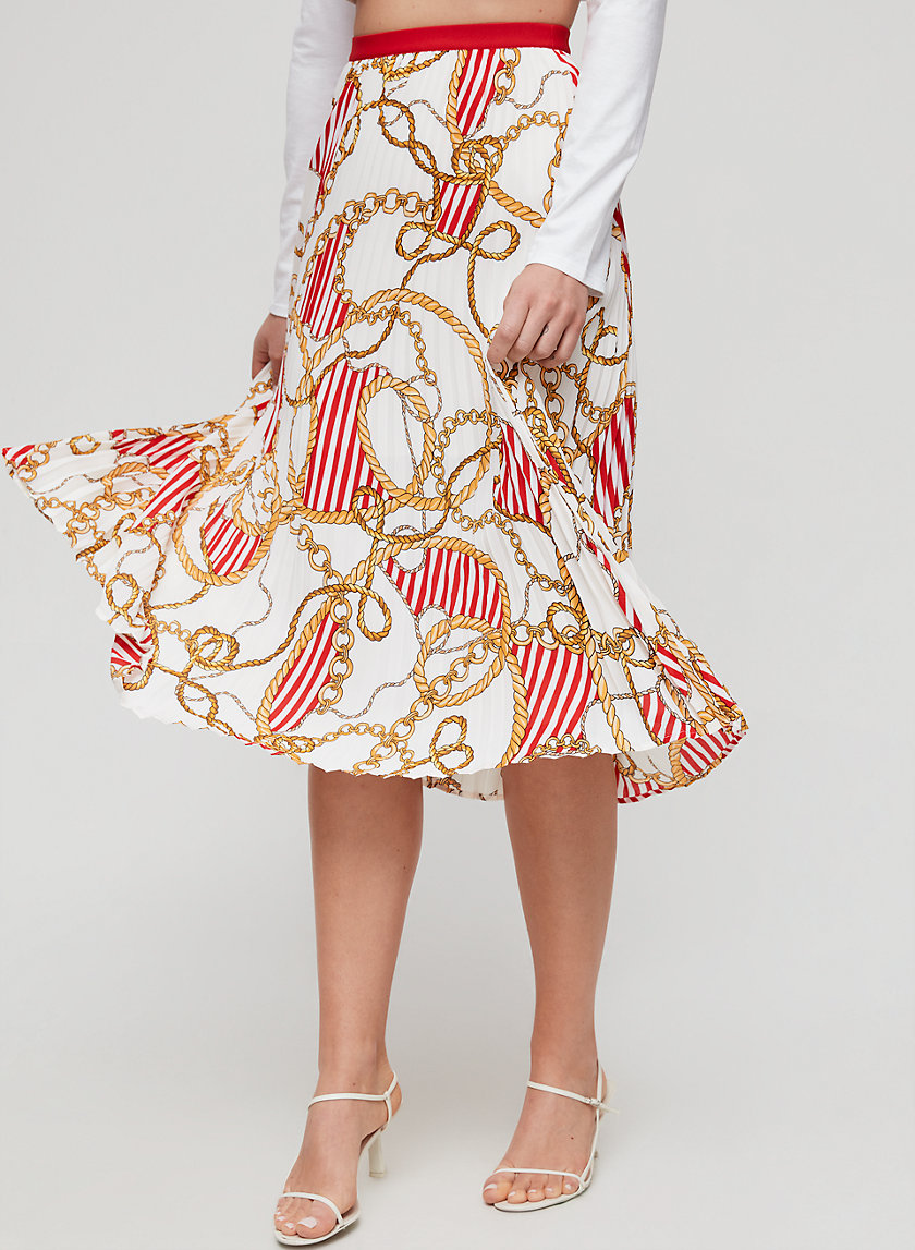 JUDE SKIRT - Pleated, printed midi skirt