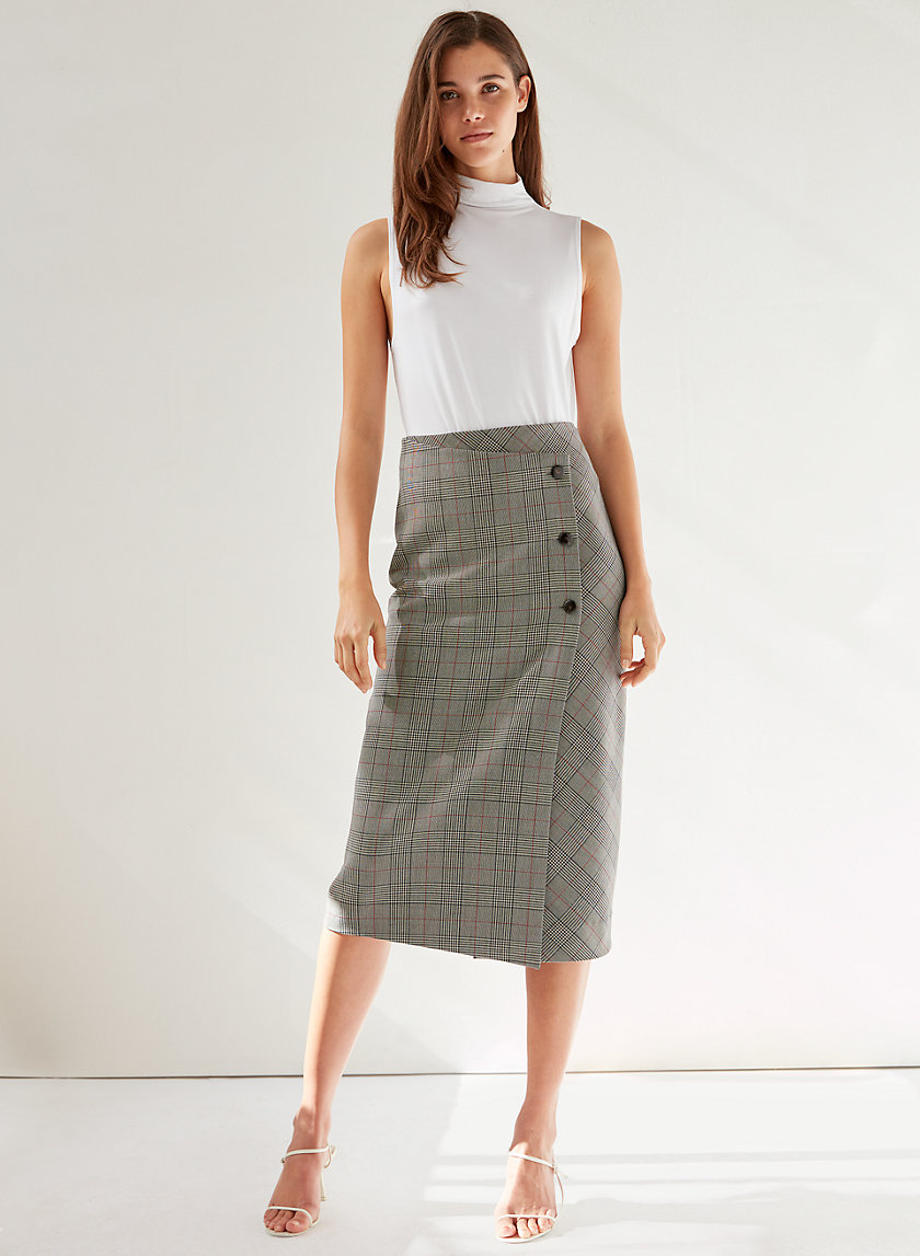 BILLY SKIRT - Plaid, wrap midi skirt