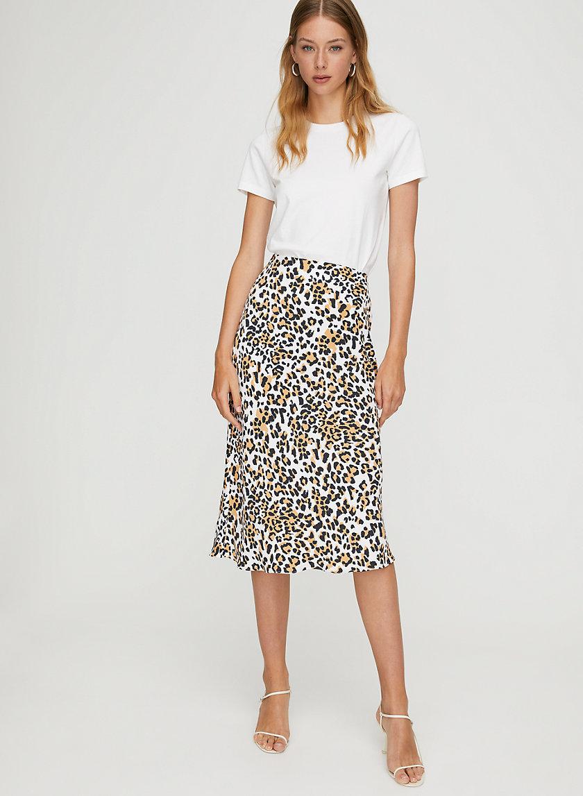 LEOPARD SLIP SKIRT - Leopard-print midi skirt