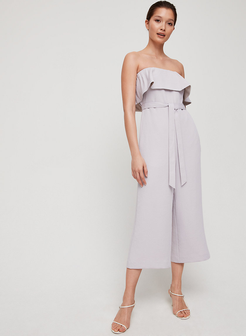 FLUTTER JUMPSUIT - Strapless, ruffled jumpsuit