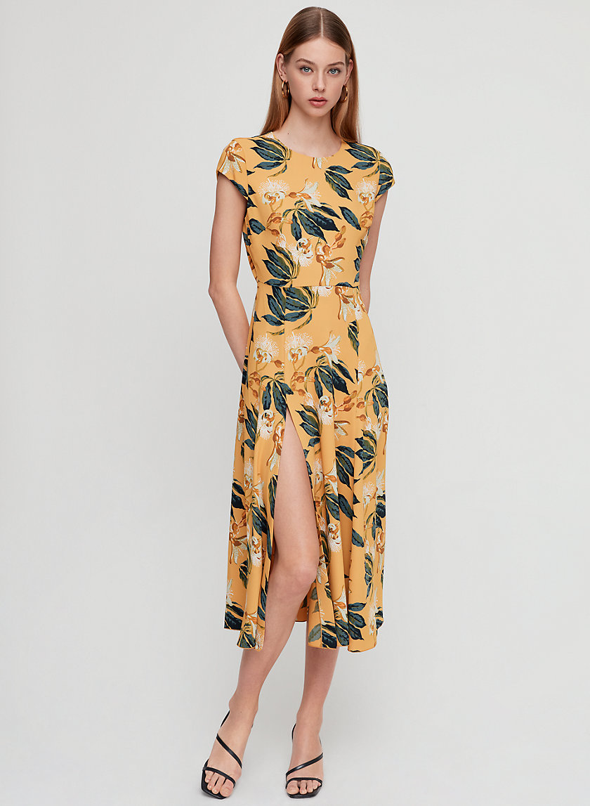LORENCE DRESS - Floral, midi dress with thigh slit