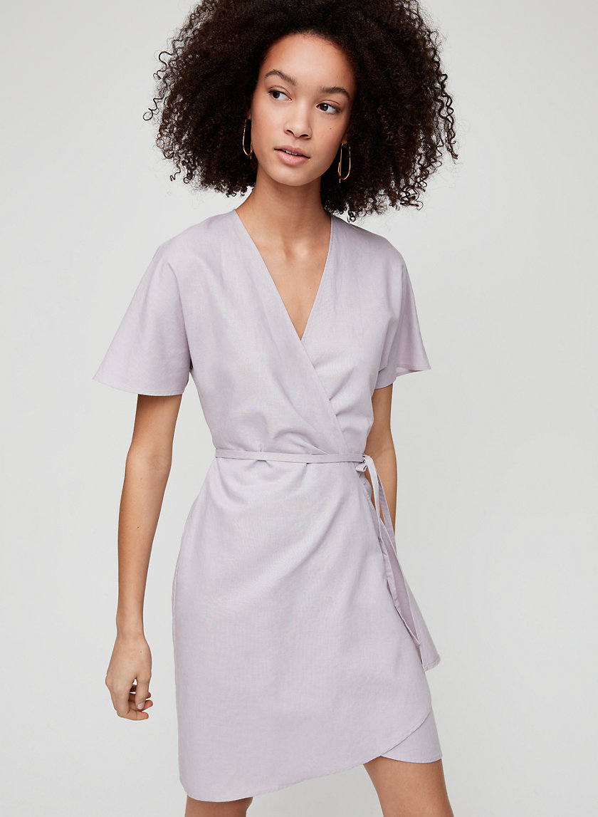 WALLACE LINEN DRESS - Short-sleeve linen wrap dress