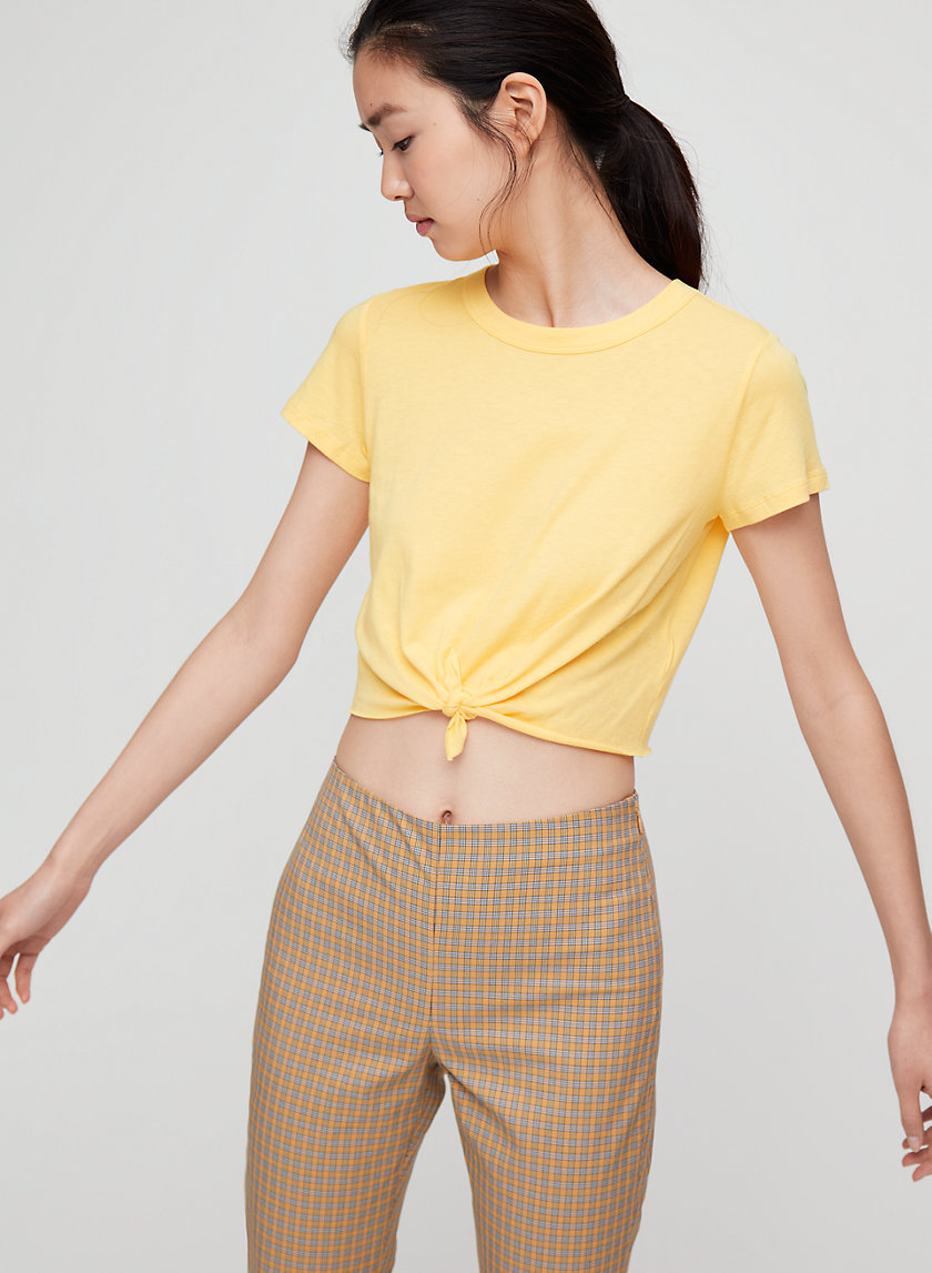 LUX T-SHIRT - Cropped, tie-front t-shirt