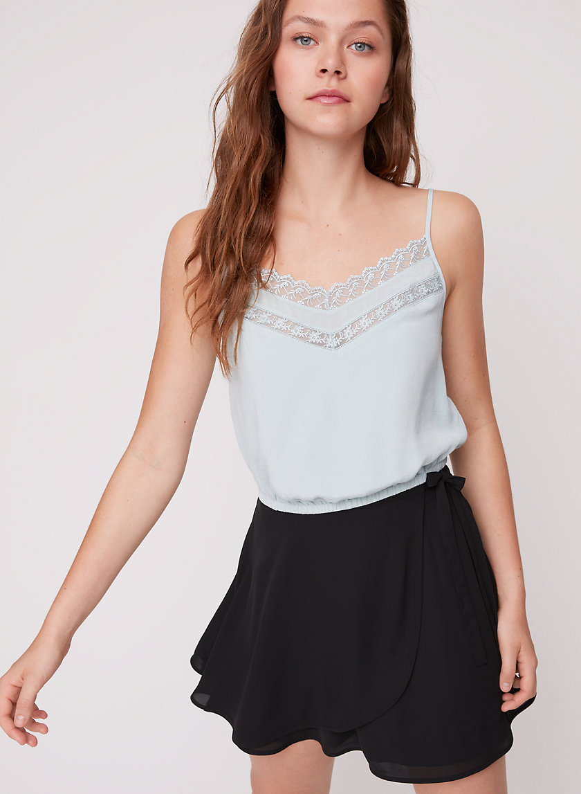 ANNA TANK - Cropped, lace-detailed camisole