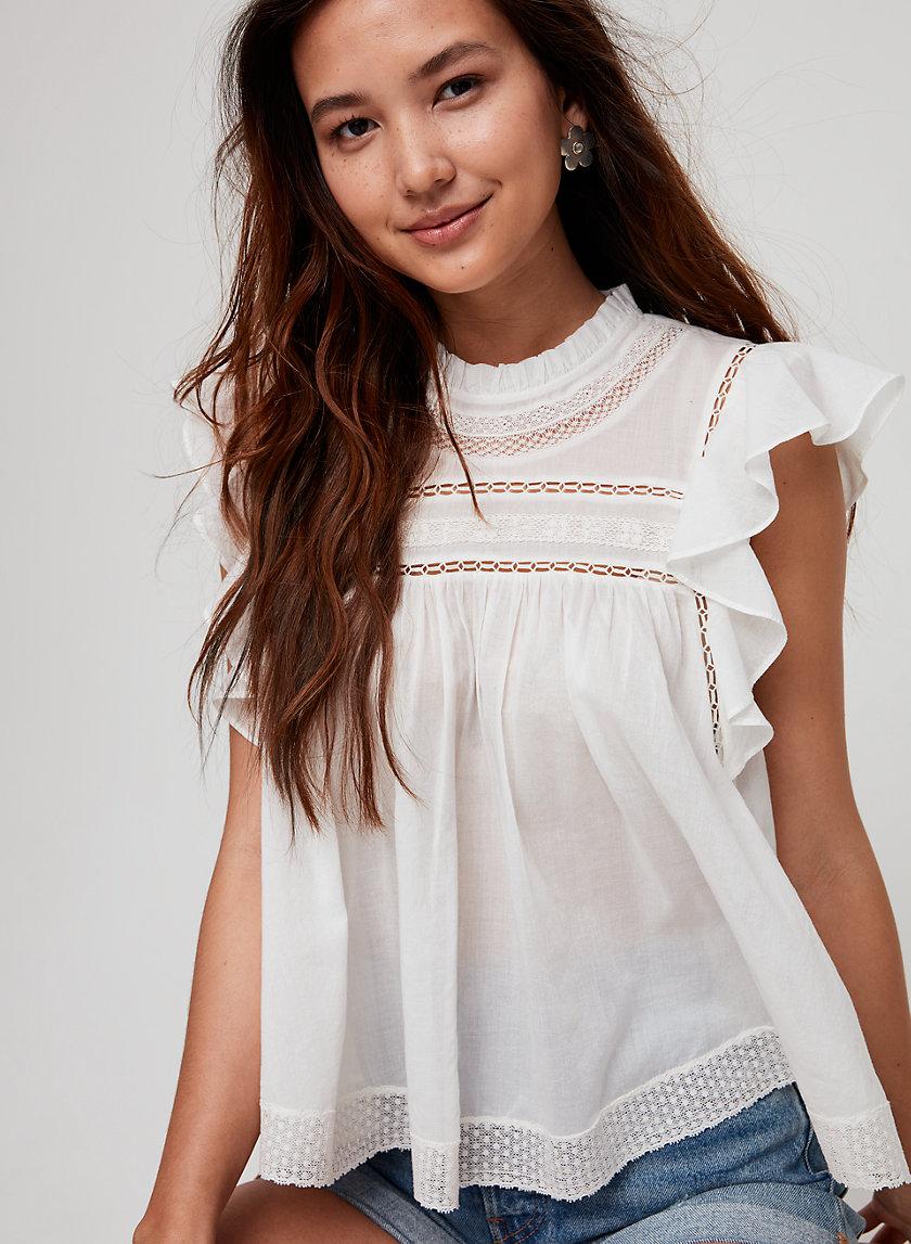 ELISABETH BLOUSE - Flutter-sleeve boho blouse