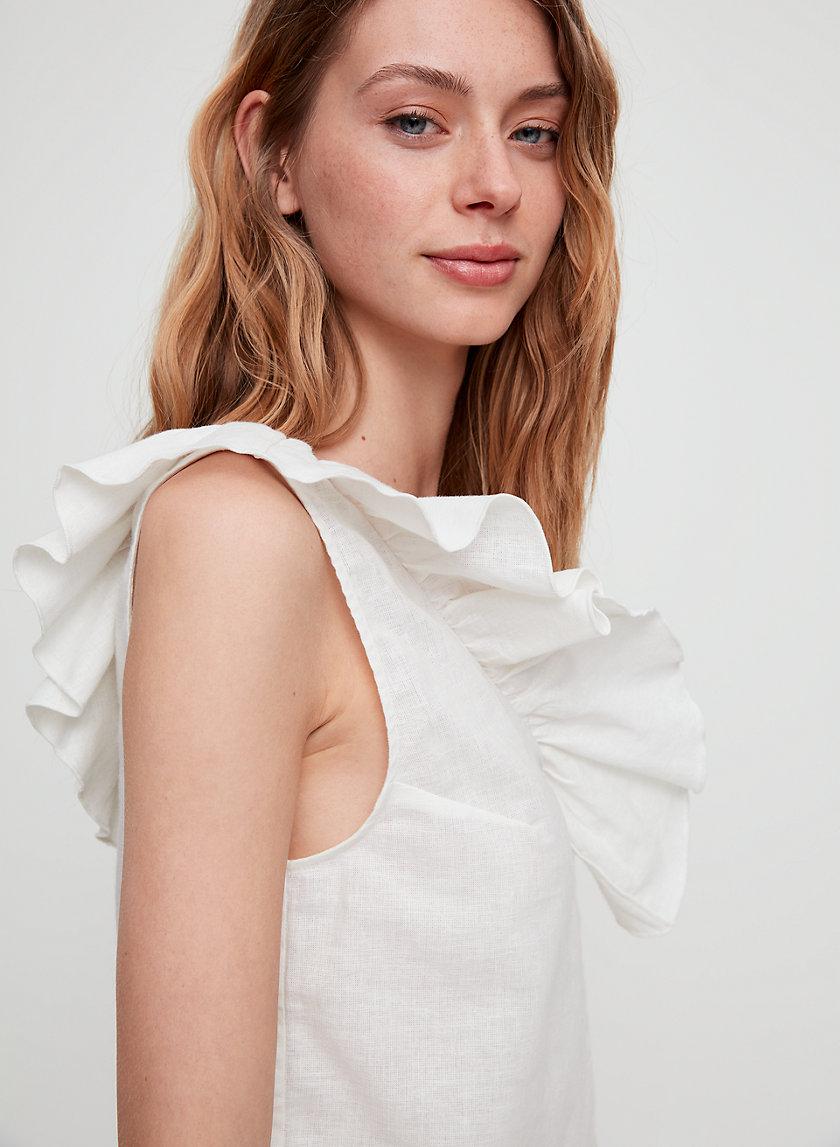 CALLIOPE BLOUSE - Ruffled linen-blend blouse