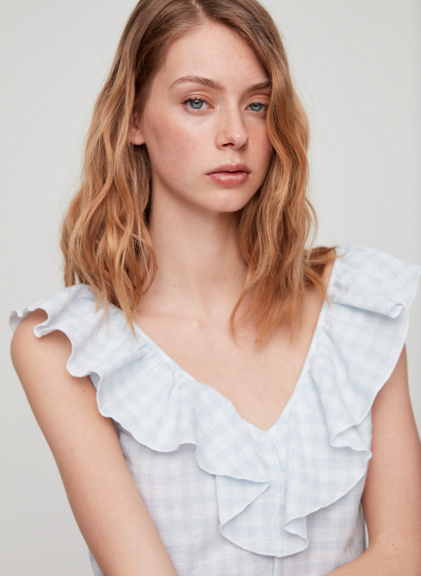 CALLIOPE BLOUSE - Ruffled gingham blouse
