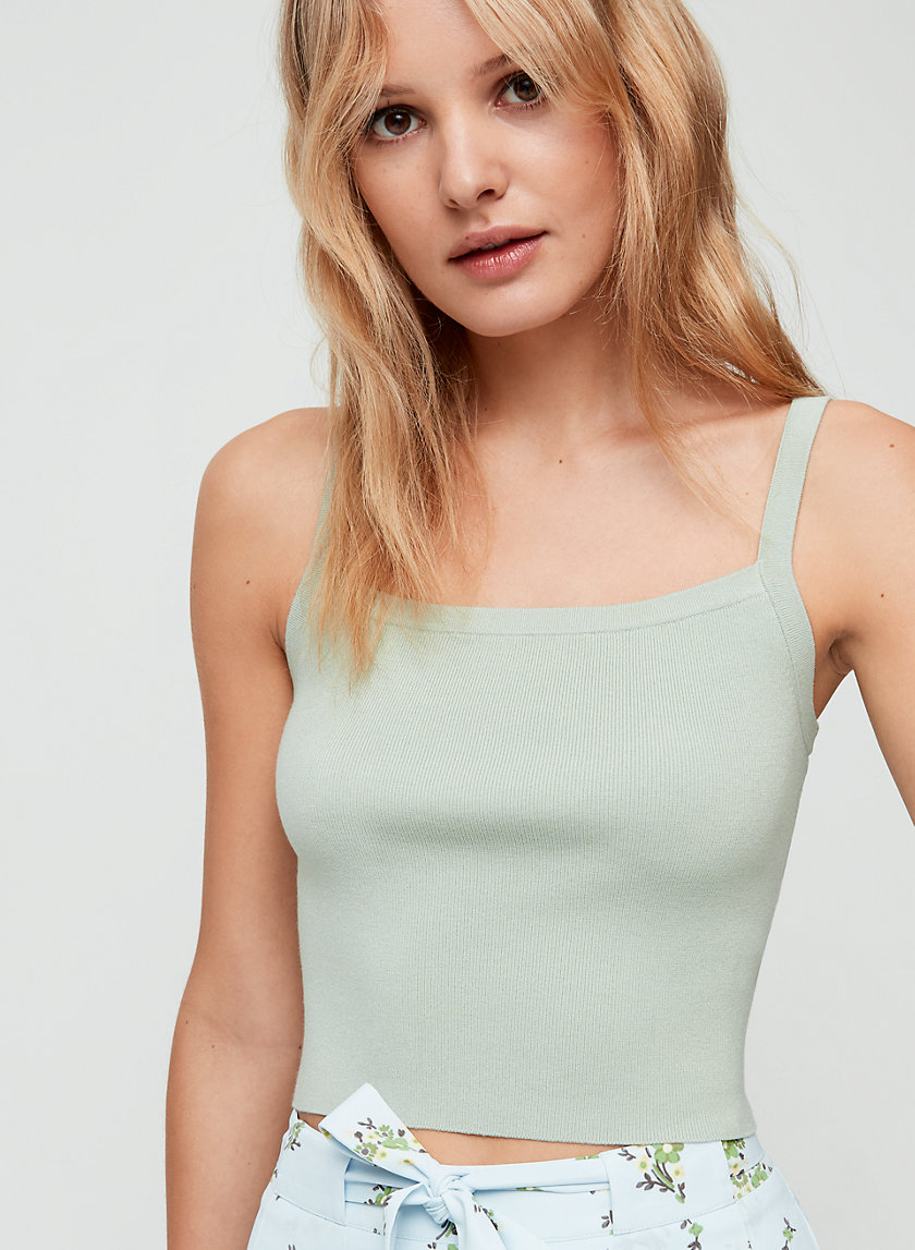 REGINA KNIT TANK - Cropped, square neckline tank top