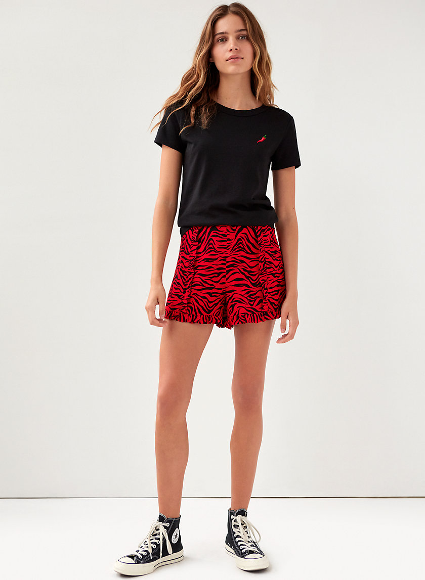 GEMMA SHORT - Zebra-print ruffled shorts