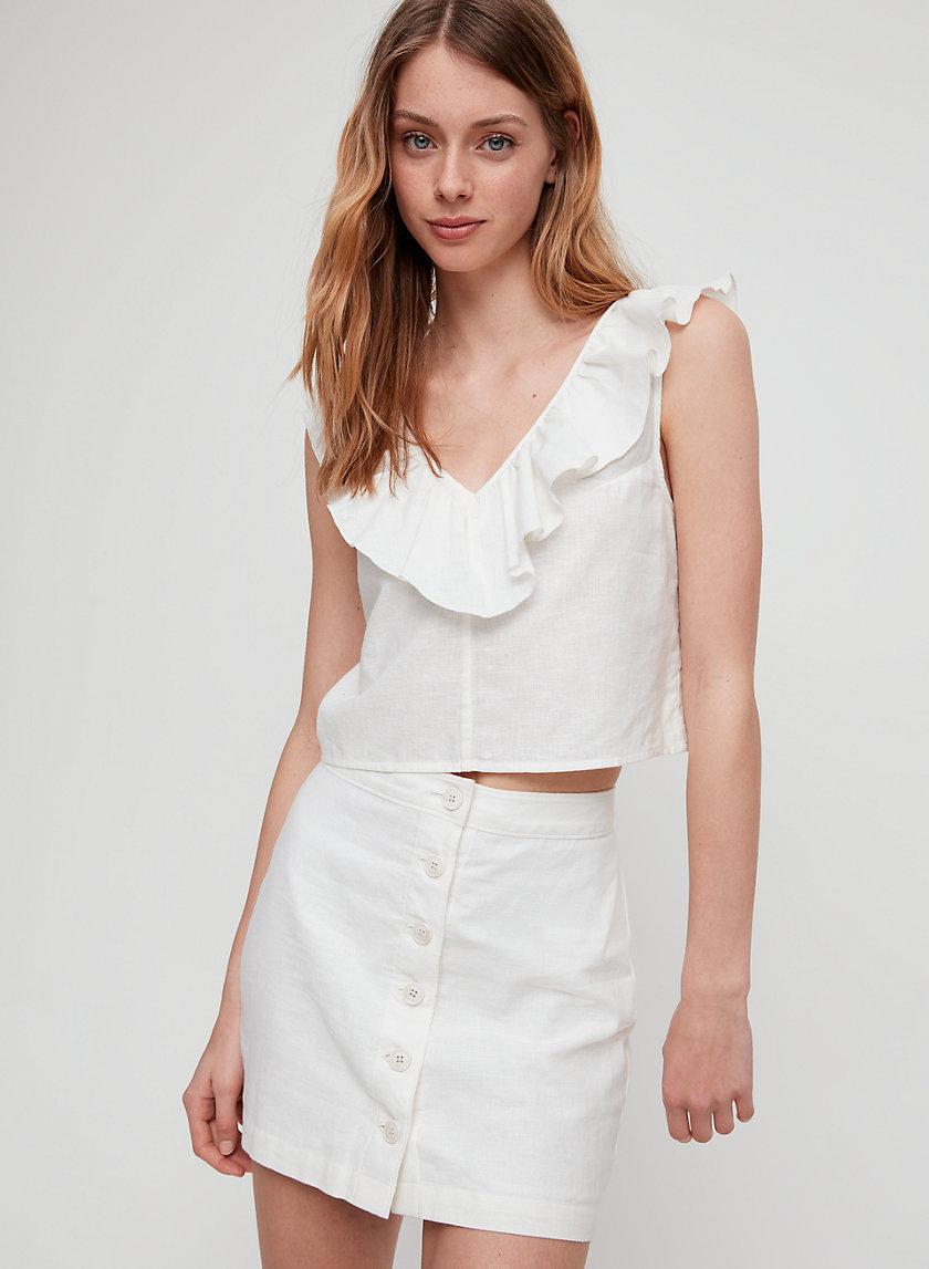 MICAH SKIRT - Button-front, linen mini skirt