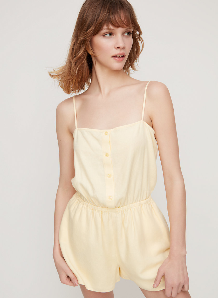 MAKENNA ROMPER - Sleeveless linen-blend romper