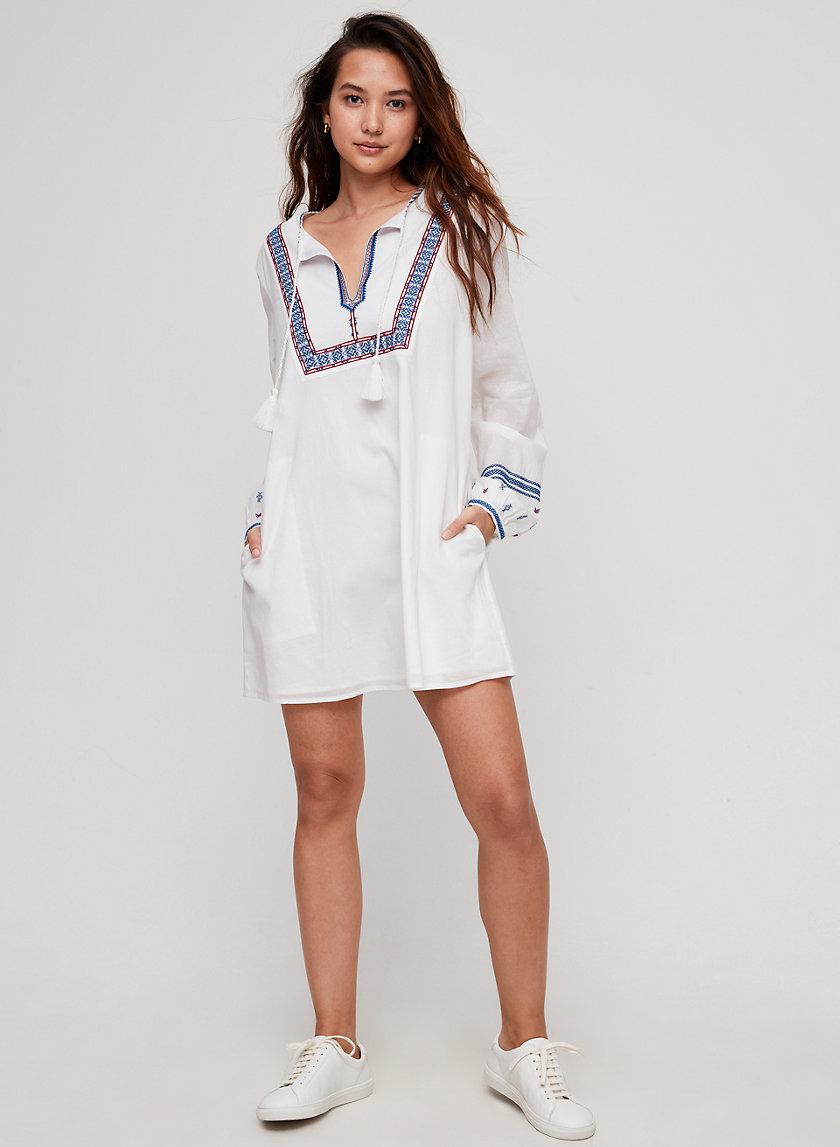 ELENDRA DRESS - Long-sleeve, embroidered boho dress