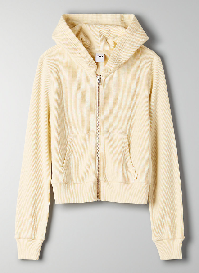 NAKAMURA THERMAL - Cropped waffle-knit hoodie