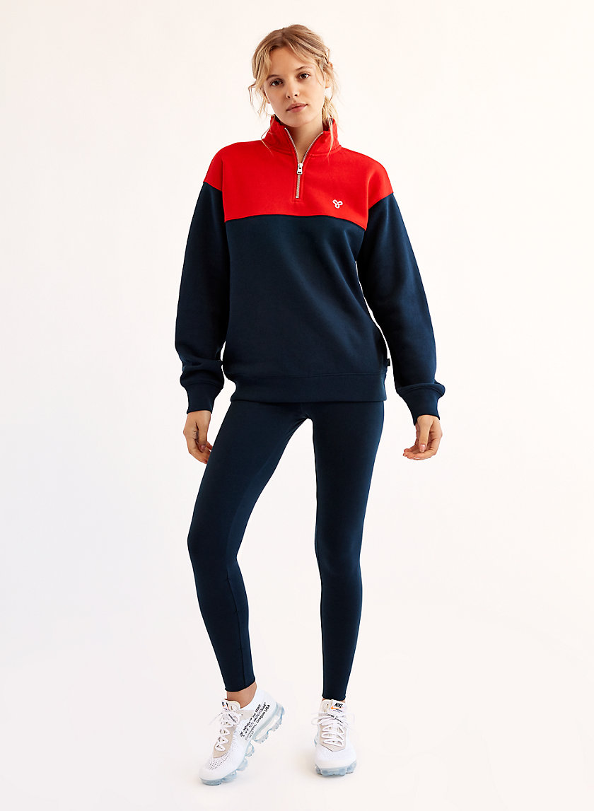 WARM-UP SWEATER - Two-tone quarter-zip sweatshirt