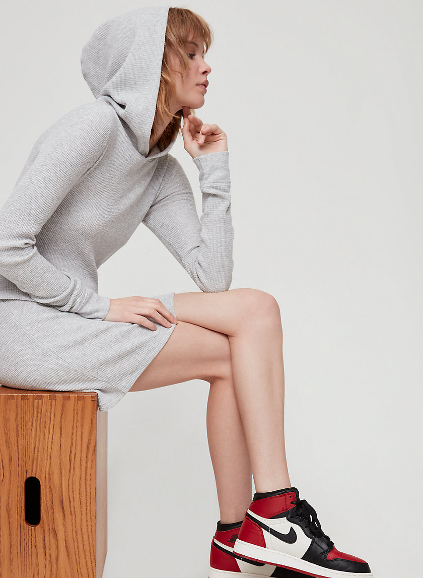 THE HOODIE DRESS - Long-sleeve, waffle knit dress
