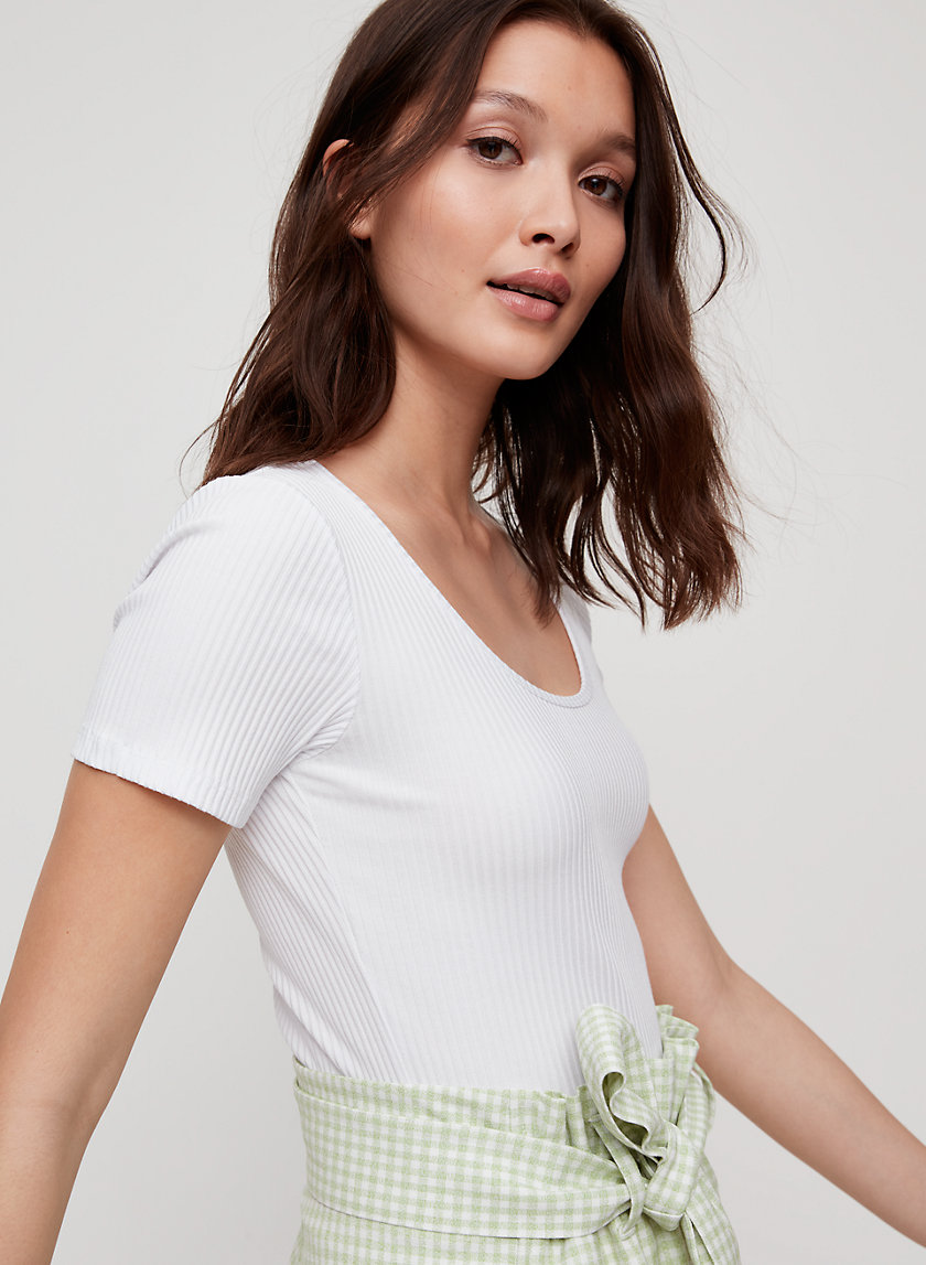 MAELLE T-SHIRT - Ribbed, scoop-neck tee